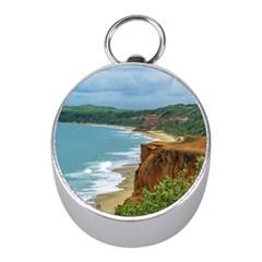Aerial Seascape Scene Pipa Brazil Mini Silver Compasses