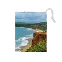 Aerial Seascape Scene Pipa Brazil Drawstring Pouches (Medium)