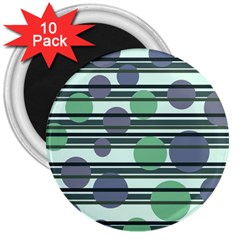 Green simple pattern 3  Magnets (10 pack)