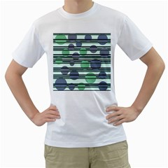 Green simple pattern Men s T-Shirt (White) (Two Sided)