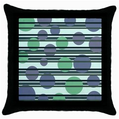 Green simple pattern Throw Pillow Case (Black)