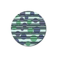 Green simple pattern Rubber Round Coaster (4 pack)