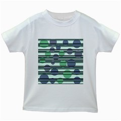 Green simple pattern Kids White T-Shirts