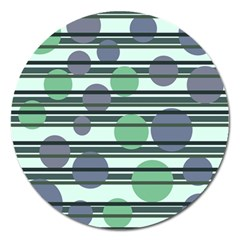 Green simple pattern Magnet 5  (Round)