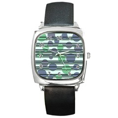Green simple pattern Square Metal Watch