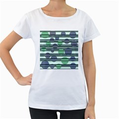 Green simple pattern Women s Loose-Fit T-Shirt (White)