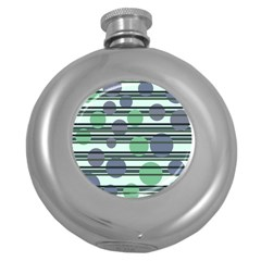 Green simple pattern Round Hip Flask (5 oz)