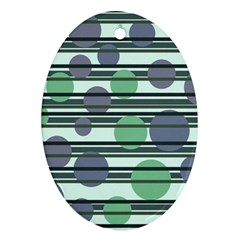 Green simple pattern Oval Ornament (Two Sides)