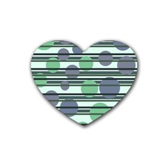 Green simple pattern Heart Coaster (4 pack)