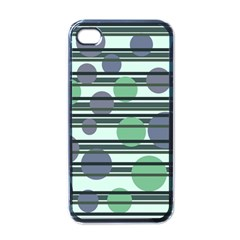 Green simple pattern Apple iPhone 4 Case (Black)