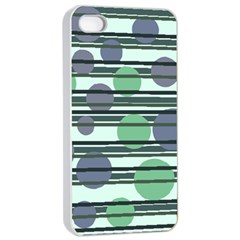 Green simple pattern Apple iPhone 4/4s Seamless Case (White)