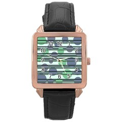 Green simple pattern Rose Gold Leather Watch