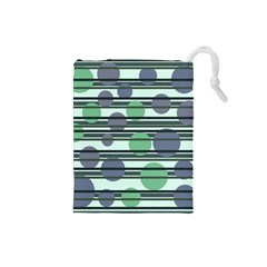 Green simple pattern Drawstring Pouches (Small)