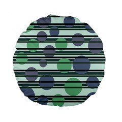 Green simple pattern Standard 15  Premium Flano Round Cushions