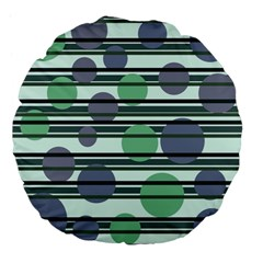 Green simple pattern Large 18  Premium Flano Round Cushions