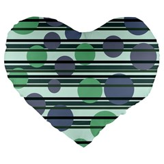 Green simple pattern Large 19  Premium Flano Heart Shape Cushions
