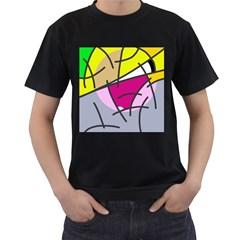 Fair skater  Men s T-Shirt (Black) (Two Sided)