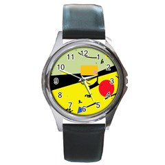 Party in the desert  Round Metal Watch