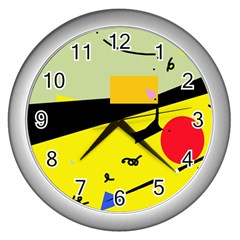 Party in the desert  Wall Clocks (Silver)