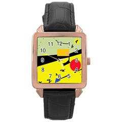 Party in the desert  Rose Gold Leather Watch