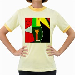 Abstract lady Women s Fitted Ringer T-Shirts