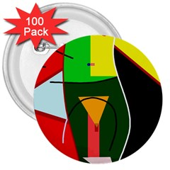 Abstract lady 3  Buttons (100 pack)