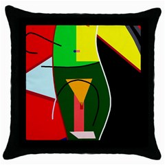 Abstract lady Throw Pillow Case (Black)