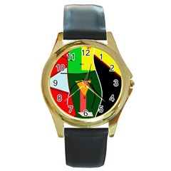 Abstract lady Round Gold Metal Watch