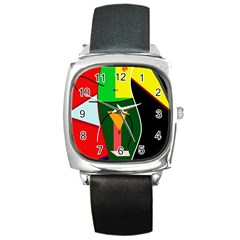 Abstract lady Square Metal Watch