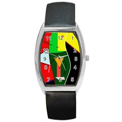 Abstract lady Barrel Style Metal Watch