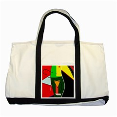 Abstract lady Two Tone Tote Bag