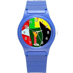 Abstract lady Round Plastic Sport Watch (S)