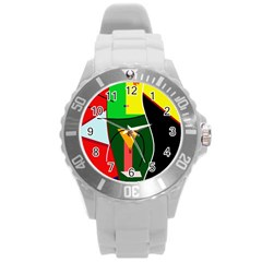 Abstract lady Round Plastic Sport Watch (L)