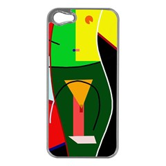 Abstract lady Apple iPhone 5 Case (Silver)