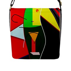 Abstract lady Flap Messenger Bag (L)