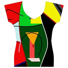 Abstract lady Women s V-Neck Cap Sleeve Top