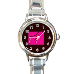 Pink square  Round Italian Charm Watch