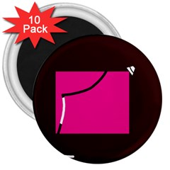 Pink square  3  Magnets (10 pack)