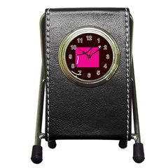 Pink square  Pen Holder Desk Clocks