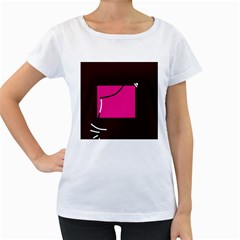 Pink square  Women s Loose-Fit T-Shirt (White)