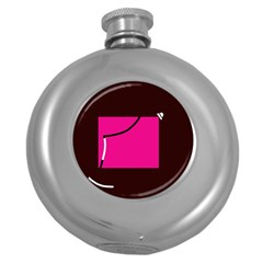 Pink square  Round Hip Flask (5 oz)