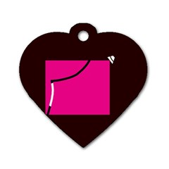 Pink square  Dog Tag Heart (Two Sides)