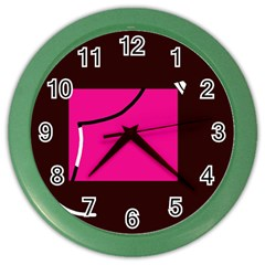Pink square  Color Wall Clocks