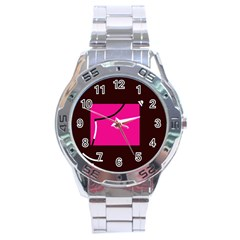 Pink square  Stainless Steel Analogue Watch