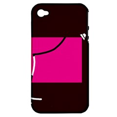 Pink square  Apple iPhone 4/4S Hardshell Case (PC+Silicone)