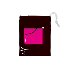 Pink square  Drawstring Pouches (Small)