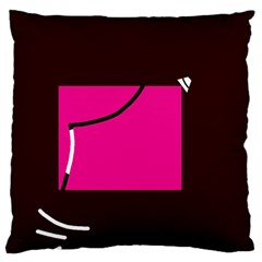 Pink square  Large Flano Cushion Case (One Side)