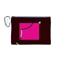 Pink square  Canvas Cosmetic Bag (M)