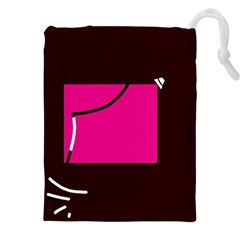 Pink square  Drawstring Pouches (XXL)