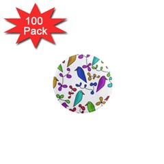 Birds and flowers 1  Mini Magnets (100 pack)